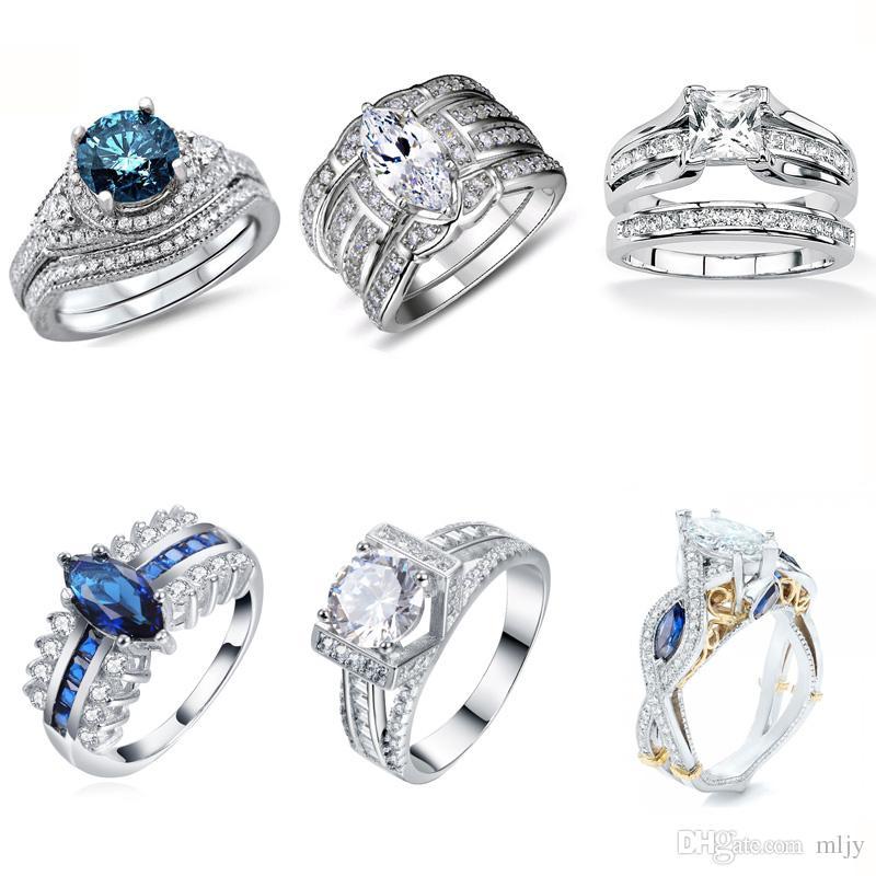 Vintage Cz Wedding Ring Sets 925 Silver Promise Engagement Ring