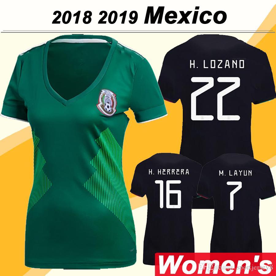 a827eca87 2019 New 2019 Mexico Women Soccer Jersey CHICHARITO H. LOZANO Football Shirts  2018 México R. JIMENEZ H. HERRERA A. GUARDADO Home Away Uniforms From ...