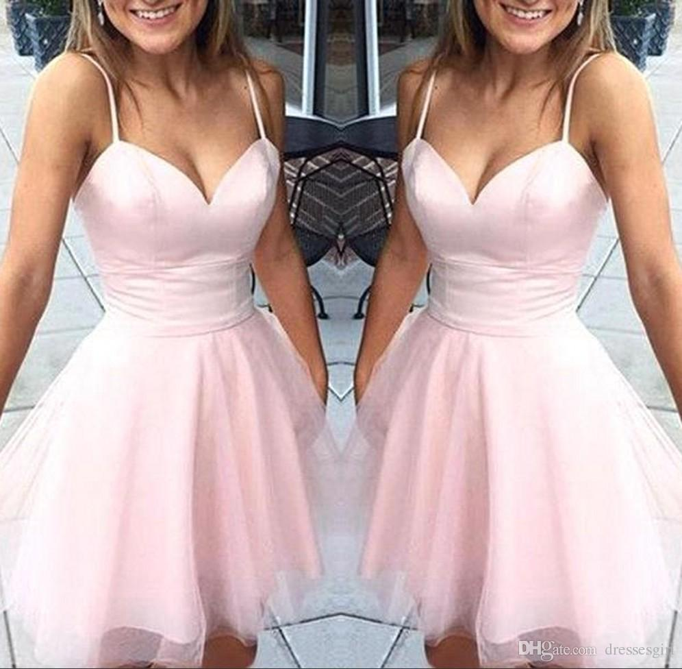 2c28c604a7e6 2019 Sweet Pink Spaghetti Homecoming Dresses Short Tulle Prom Party Gown  Cocktail Dresses Sweetheart Neck Mini Skirt Junior Homecoming Dresses Lace  Dresses ...