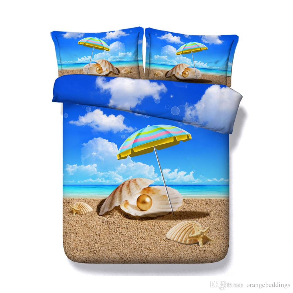 Blue Ocean Duvet Cover Set Sunny Sea Shore Sand Beach 3 Piece Bedding Set With 2 Pillow Shams Sunset Tropical Palm Tree Bedspread Skull