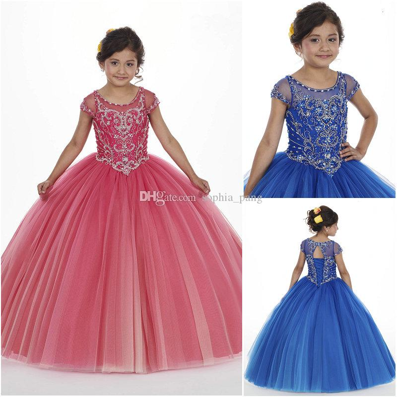 9cd8a9e4c6b11 2019 Luxury Crystal Beaded Bodice Flower Girl Dresses Magenta Tulle  Illusion Scoop Neck Lace Up Back Cap Sleeves Party Gowns MQ4007 Flower Girl  Dresses ...