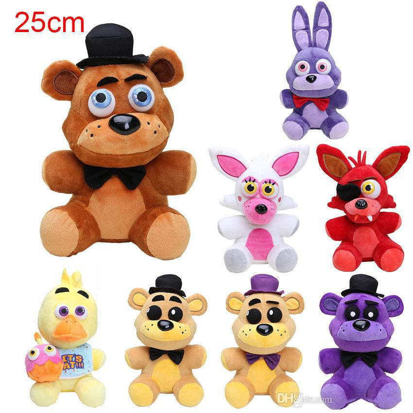25cm Five Nights At Freddy FNAF Dolls & Stuffed Toys Golden Freddy fazbear Mangle foxy bear Bonnie Chica Plush Doll