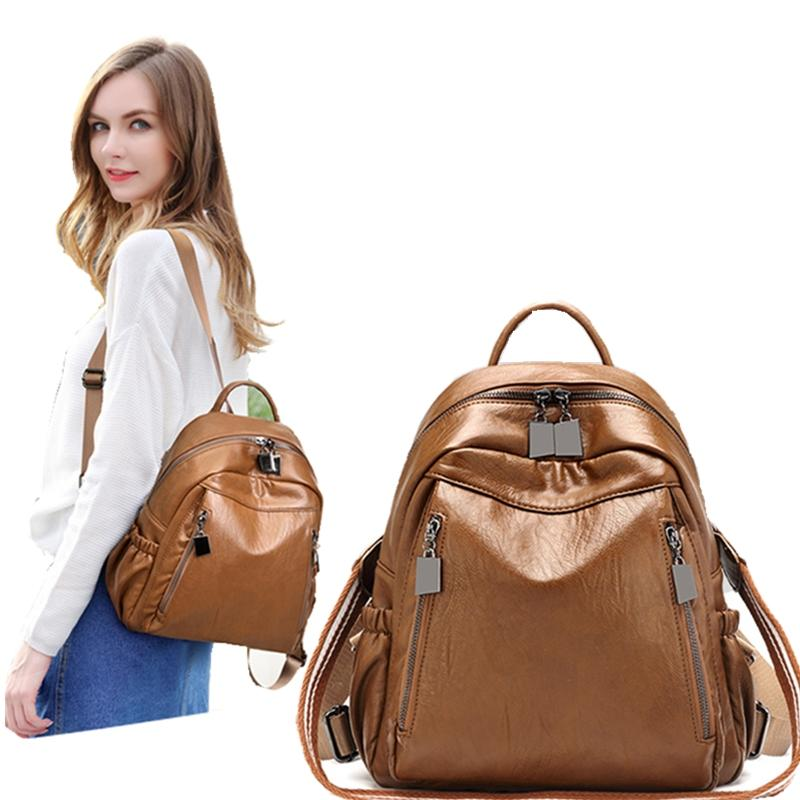 season Korean version of the new fashion wild soft leather backpack student travel bag multi-function backpack female