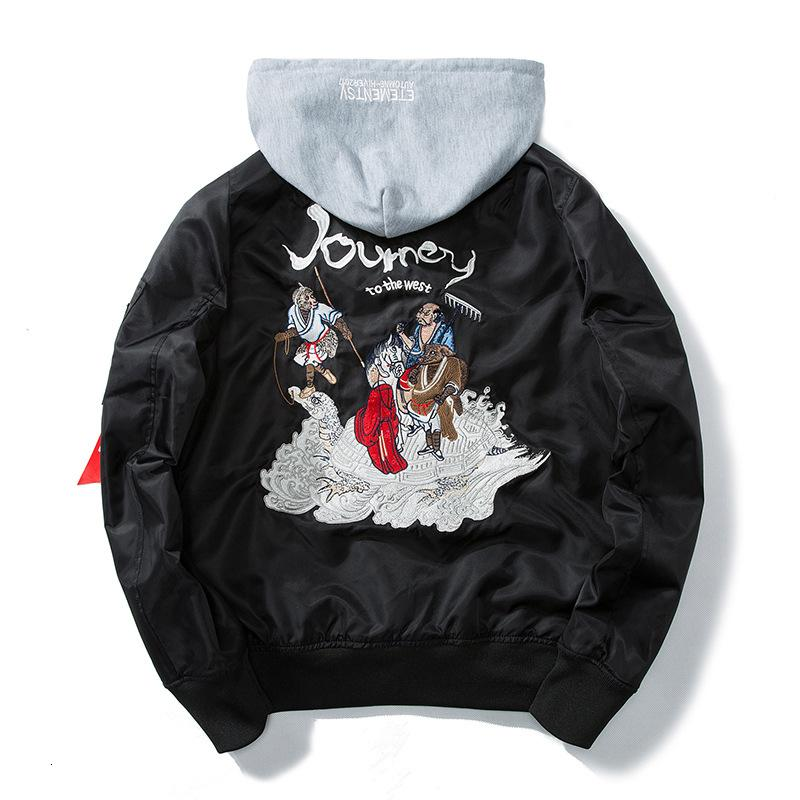 Autumn Men Embroidery Baseball Jacket Cartoon Comics Pilot Flight Jacket Hooded Youth Couples Coat Chinese Style Windbreaker SH190908
