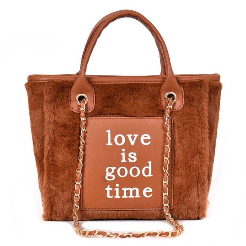 2019 Winter Fashion Female Big Tote Bag Quality Soft Plush Women S Designer  Handbag Stitched Letter Chain Shoulder Messenger Bag Crossbody Bags Satchel  From ... 0f5e98cfff4bf