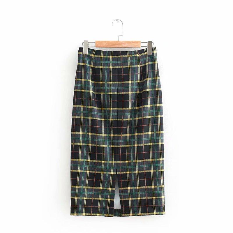 fcc231f05 2019 Nuevas Mujeres Vintage plaid imprimir espalda cremallera recta midi  falda de las señoras de moda dividida vestidos faldas de negocios casual ...