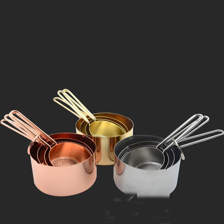 4 pcs 1set Measuring Cups Copper Stainless Steel Pieces Set Kitchen Tools Making Cakes and Baking Gauges Measuring Spoon Set KKA7031