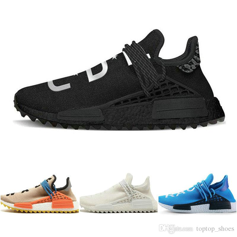 new styles ac4d6 96e20 New Human race Hu trail x pharrell williams Nerd men running shoes white  Black yellow lace mens trainers sports sneaker