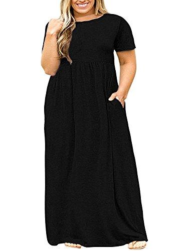 2bd28fc0954 YONYWA Plus Size Womens Dresses Short Sleeve Casual Loose Plain Long Maxi T  Shirt Dress With Pockets Silk Dresses Black Evening Dresses From Housecoat