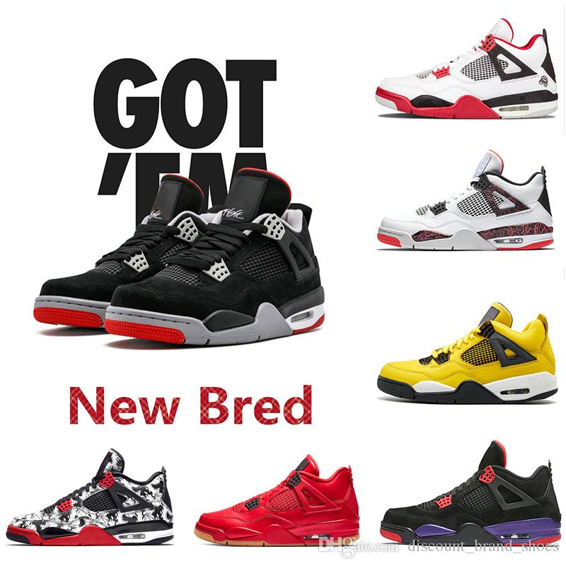 Original Box 4s IV 4 Lightning New Bred Tattoo Singles Day Mens Basketball Shoes Travis Scots Pure Money Outdoor Trainers Sports Sneakers