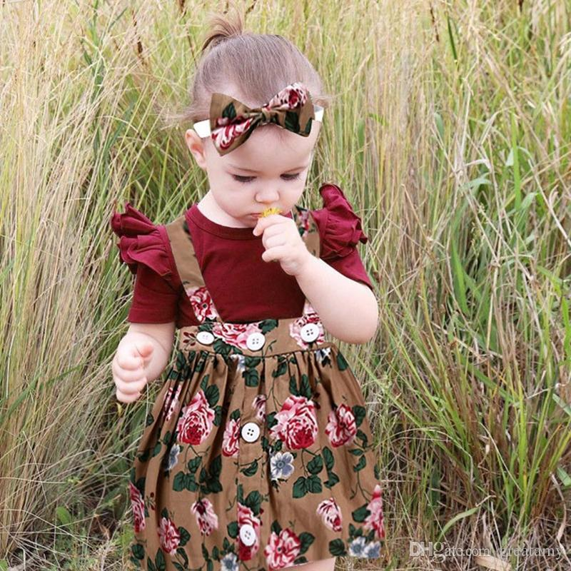 9bd52a103747 Kids Casual Clothing Set Cotton Toddler Girls Boys Overalls Printed Skirt +  Headband + Romper Outfits Baby Clothing Girls Clothes Set Floral Kids Suit  ...