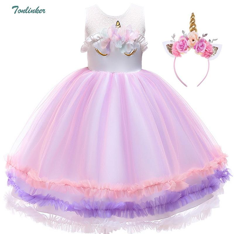 f7d657e622d97 Princess Girls Unicorn Costume Lace Mesh Flowers Unicorn Dress Up For  Children Christmas Wedding Party Tutu Dresses 2 8 Years Costumes For 5  People Awesome ...