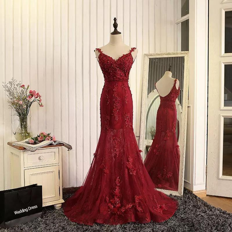 e77c43c071c64 Satın Al Kırmızı Dantel Kat Uzunluk Örgün Abiye Kadın Moda Gelin Kıyafeti  Özel Durum Balo Nedime Parti Elbise 17LF149, $236.37 | DHgate.Com'da