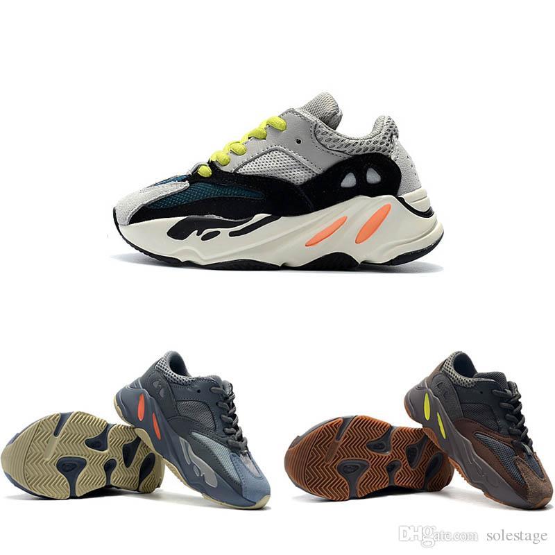 9b8dbe3fb Kids Baby Kanye West Inertia 700 Wave Runner Designer New Children Boy Girl  Mauve Static Solid Grey 700 V2 Running Athletic Shoes Sneakers Childrens  Running ...