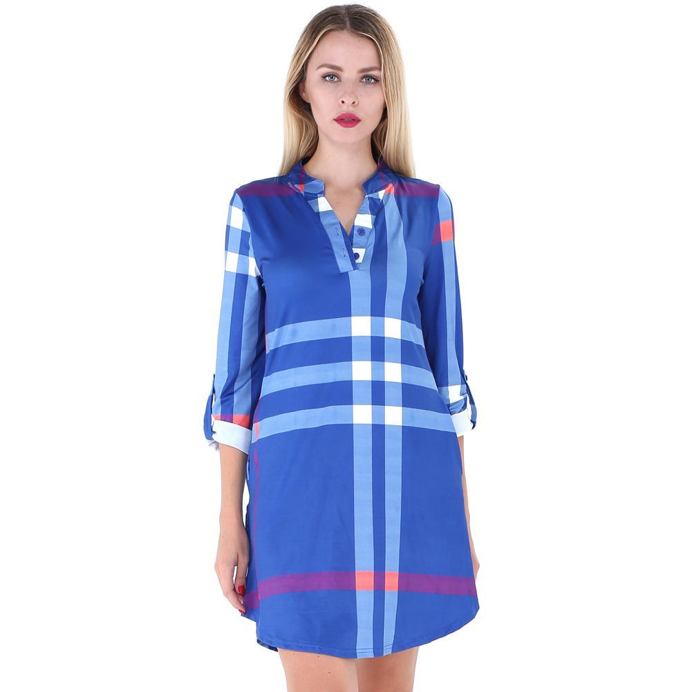 d7865aa1b Compre 2018 Nueva Moda Otoño Mujer Camisa A Cuadros Vestido Enrollar Mangas  Botón Con Cuello En V Bolsillos Dobladillo Curvo Informal Mini Vestido  Vestido ...
