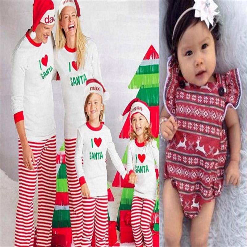 05830d6fe3 Emmababy Hot Sale Family Matching Kids Mom Dad Christmas Pajamas Outfits  Sets Xmas Sleepwear Nightwear For Dad Mom Kids Clothing Matching Mother  Daughter ...