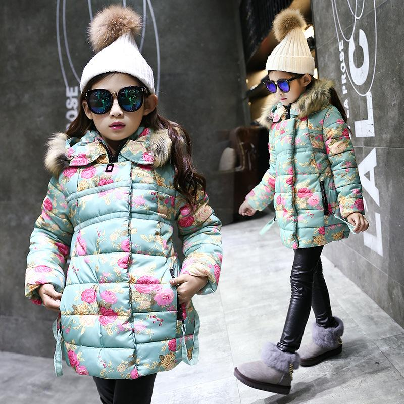 23dd3495dc76 Winter Warm Jackets Girls Kids Fashion Floral Printed Jacket Girl ...