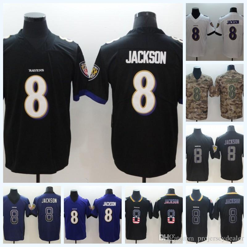 half off 49386 b9fa4 Mens 8 Lamar Jackson Ravens Jersey Baltimore USA Flag Stitched Salute to  Service American Football Jersey High Quailty Free Shipping