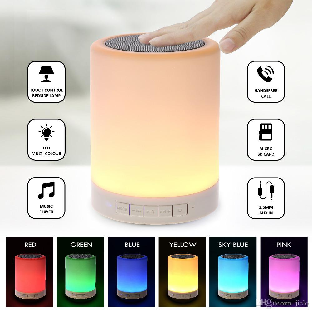 Bluetooth Speaker Night with speakers Portable Wireless Bluetooth Speaker Touch Control Color LED Bedside Table Lamp alarm clock wholesale