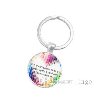 DHL Quote Great Teacher Take a Hand Thank you Glass Cabochon Keychain Key  Rings Holder Fashion Teacher day Gift