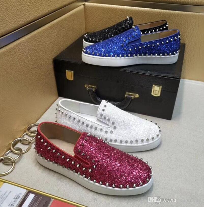 438a4f43b5 Black White Glitter Red Bottom Pik Boat Shoes For Loafers Men Women Red  Sole Sneaker Genuine Leather Dress Casual Shoes Flat Spiked