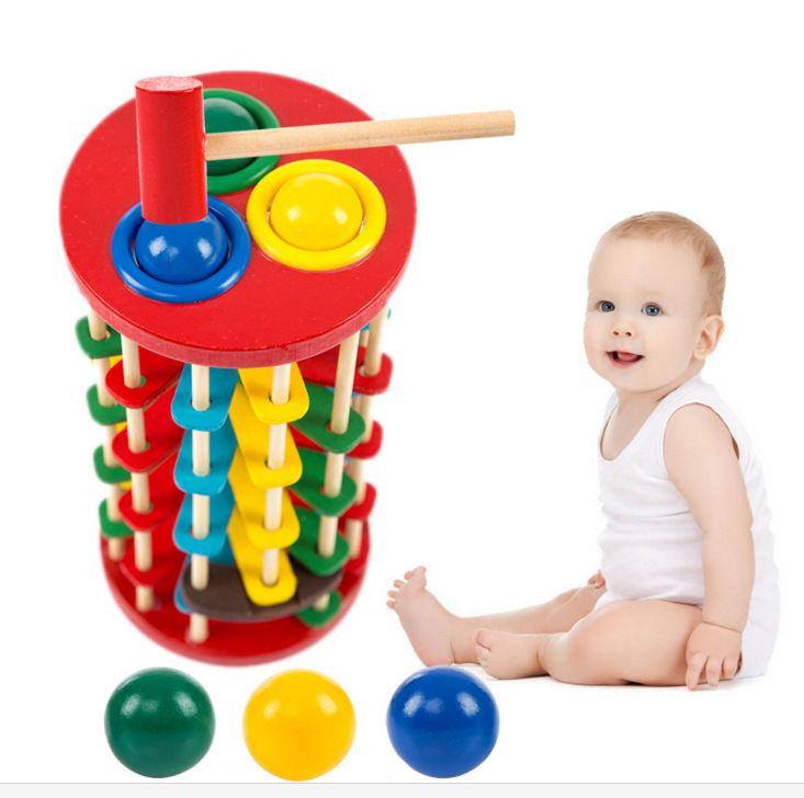 [TOP] DIY Wooden Pound and Roll Wooden Tower with Hammer Knock The Ball Off Ladder Montessori Educational Toys child kids gift