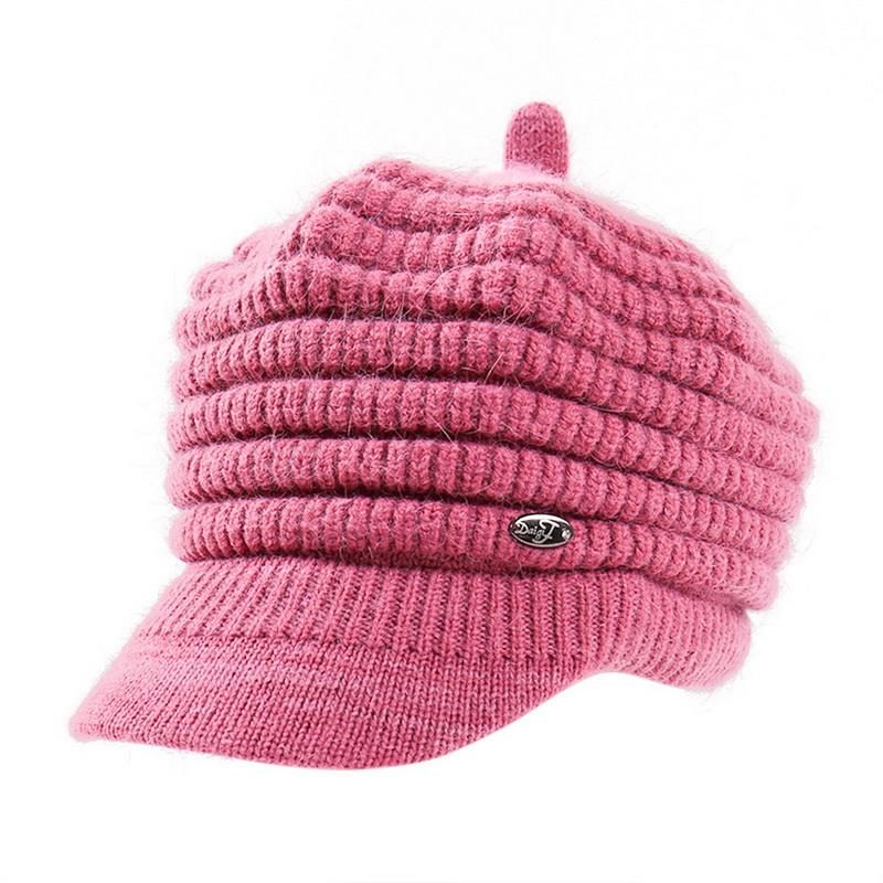 44809d4c8ca CALOFE Women s Beret Plus Velvet Thick Solid Color Knitted Wool Hat ...