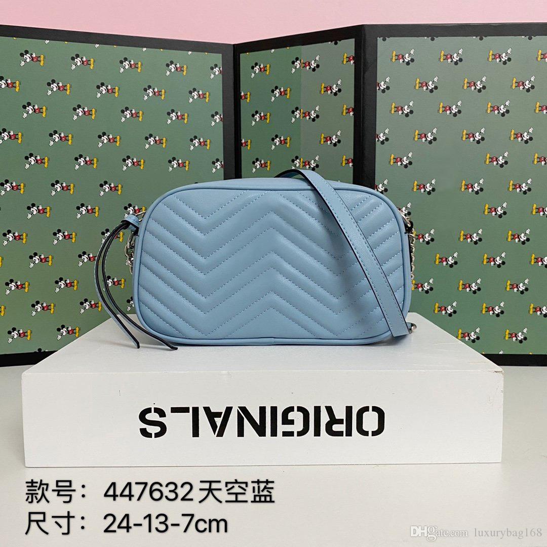 Sac à bandoulière de nouvelles dames de créateurs de mode ceinture sac à bandoulière en cuir de haute qualité nouvelle couleur lumière de couleur avec des sacs de caméra 24cm