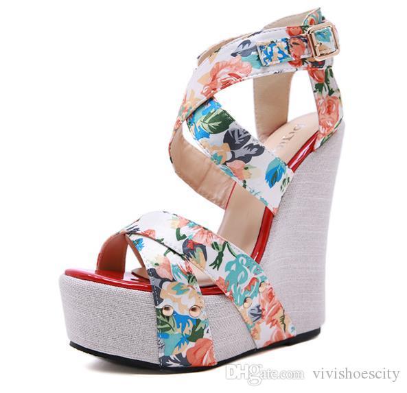 15cm Şık çiçek çapraz strappy platformu kama yüksek topuklu sandalet ayakkabı tasarımcısı boyutu 35-40