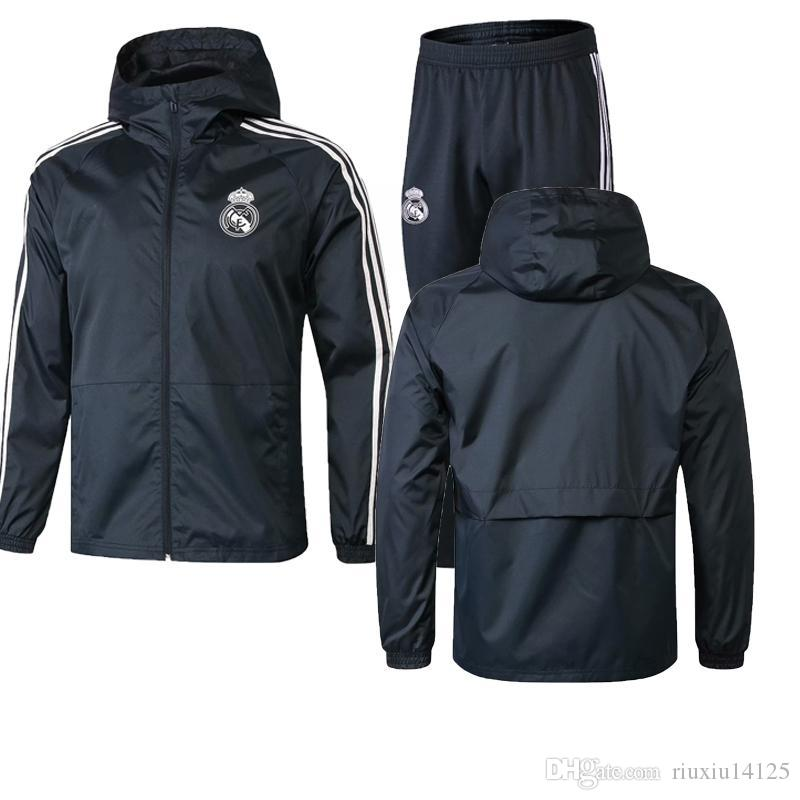 18 19Real Madrid Coupe-vent Joueur À Manches Longues Veste Costume Kit Football Jersey BALE Formation Uniformes Hoodies 2019 Costumes De Football Veste + Pantalon