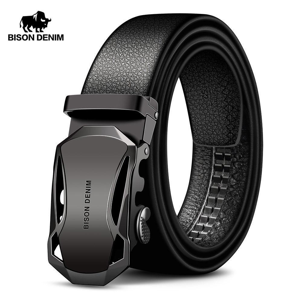 9019c799799 Compre Cinturón Para Hombre Cinturones De Cuero De Vaca Marca Moda Hebilla  Automática Negro Cinturones De Cuero Genuino Para Hombres 3.4 Cm Ancho A   13.53 ...