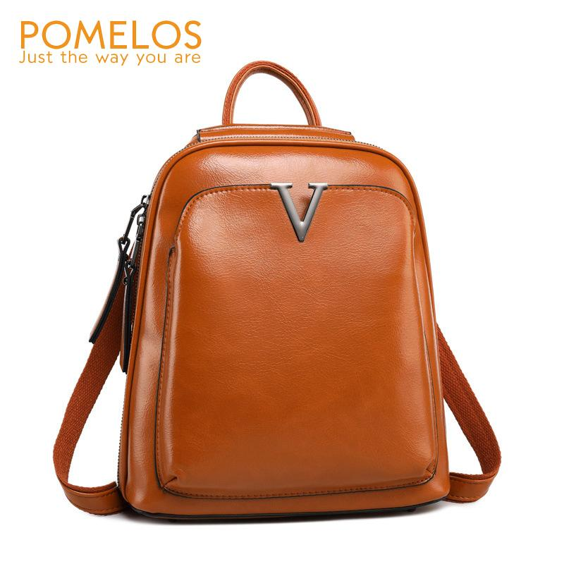POMELOS Women Backpack Genuine Leather 2018 New Arrival Vintage ... 8373f8e2cd442