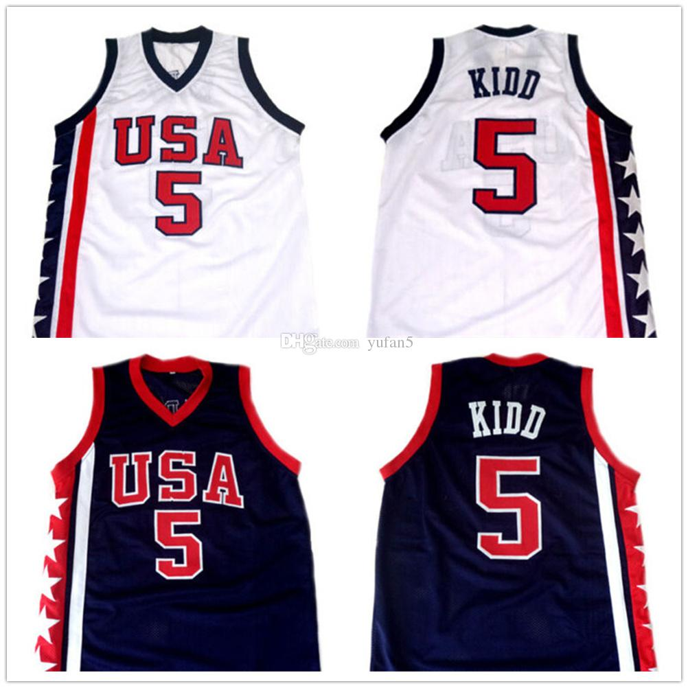 super popular 3f8b3 30f5c Jason Kidd #5 Team USA Retro Basketball Jersey Men's Stitched Custom Any  Number Name Jerseys
