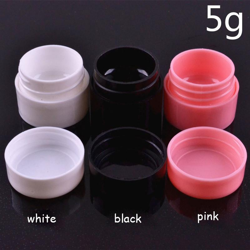 100pcs 5g Empty Plastic Nail Art Container Cosmetic Jar Small Sample Cream Pot Nail Gel Powder Box Black White Pink