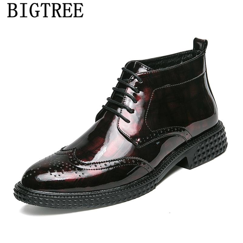 a0f86a62c054 Mens Dress Boots Ankle Boots Men Leather High Ankle Shoes Men Motorcycle  Brogue Shoes Luxury Italian Brand Sapatos Walking Boots Ankle Boot From  Vintagered