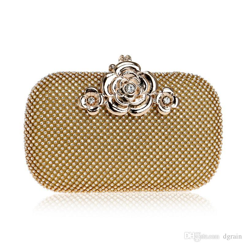d068785272c0 Vintage Flower Appliques Women Gold Crystal Purse Evening Bag Diamond Party  Wedding Box Designer Floral Clasp Clutch Handbag Bolsa De Fiesta Designer  ...