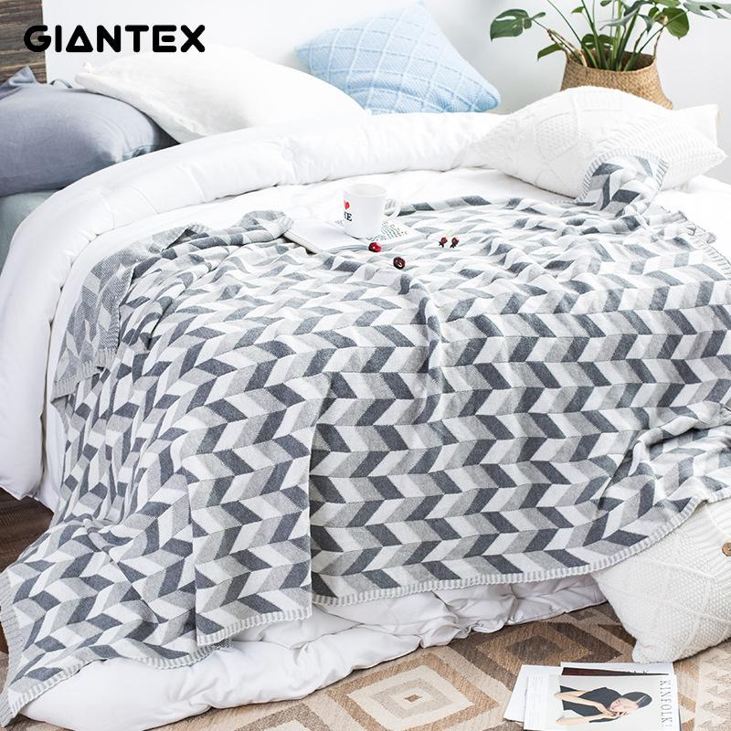 GIANTEX Nordic Style Soft Warm Geometric Pattern Cotton Knitted Blanket For Beds Sofa Knee Blanket Photography Props U1980