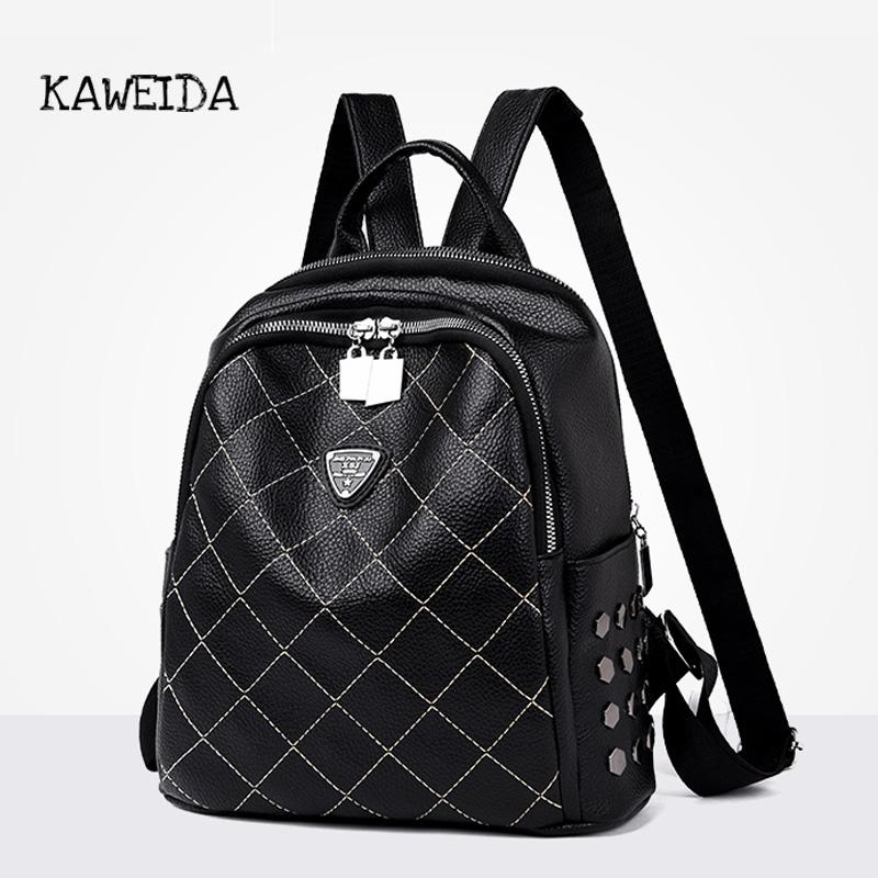 ede32e137432 Women S Backpack Black Casual Quilted PU Leather Geometric School Bag 2019  New Brand Fashion Women Ladies Shoulder Tote Rucksack Small Backpack  Backpack ...