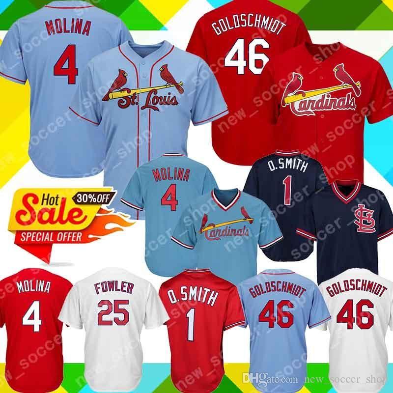 on sale 5c600 9abde 4 Yadier Molina Jersey St. Louis 46 Paul Goldschmidt Cardinals 1 Ozzie  Smith 25 Dexter Fowler Cool Base Men Baseball Jerseys