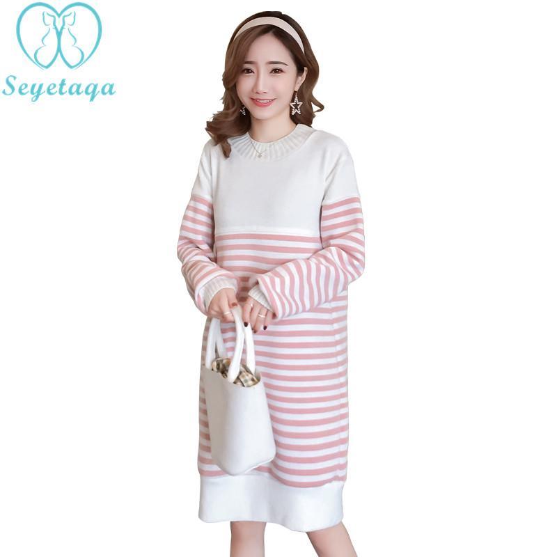 f3495c050501f 2019 3215# Winter Thicken Warm Velvet Maternity Nursing Dress Striped Breastfeeding  Clothes For Pregnant Women Pregnancy Feeding Wear From Rainbowny, ...