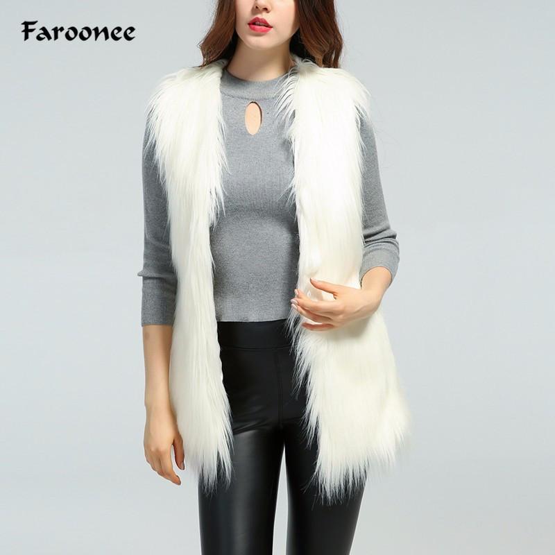 online retailer c67fa 1e3c3 Faroonee bianco gilet di pelliccia sintetica per le donne autunno inverno  cappotto sottile scollo a V gilet giacche cappotto cappotto senza maniche  ...