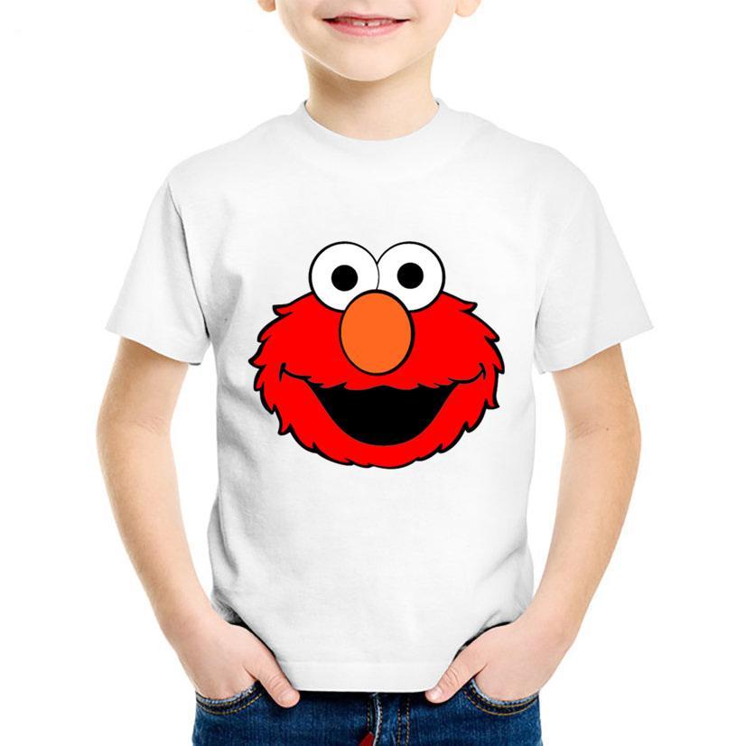 011ed2a26e087 Acheter T Shirt Drôle De Dessin Animé D enfants Rue Elmo Drôle T Shirt  D été Enfants T Shirt À Manches Courtes Garçons   Filles Tops Bébé  Vêtements ...