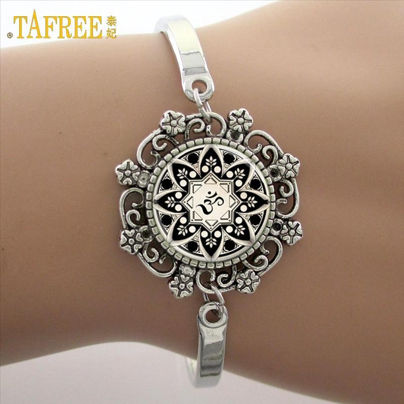 Marca yoga imagem vidro cabochão cúpula lace flor charme pulseira das mulheres amor presente de natal de boa qualidade pulseiras cuff