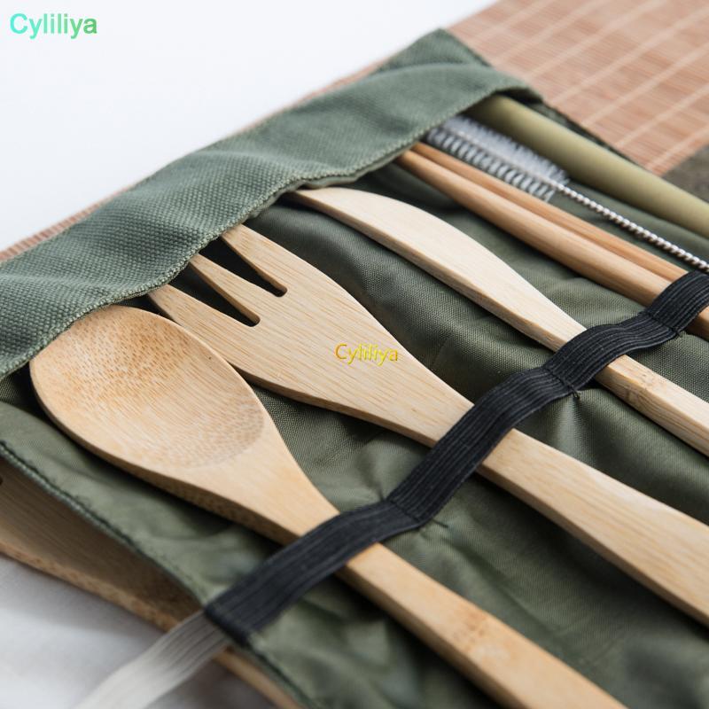 مجموعة أواني خشبية الخيزران ملعقة شوكة شوربة سكين الطعام والسكاكين مجموعة مع كيس القماش المطبخ أدوات الطبخ إناء 30 قطع