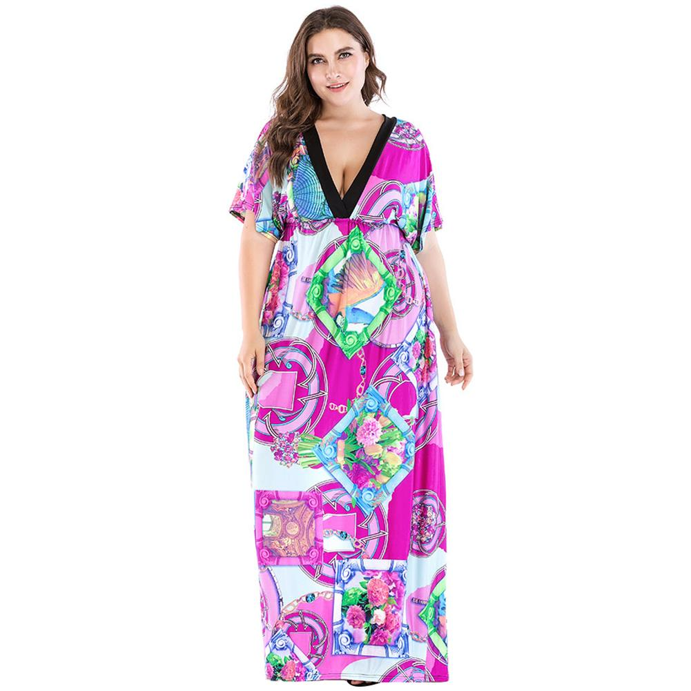 7XL Plus Size Women Beach Dresses Colorful Floral Printed Deep V ...