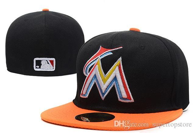 b88e93e011bd2f 2018 Men's Marlins Black top Orange visor fitted hat flat Brim embroiered  letter team logo fans baseball Hats size full closed Chapeu b