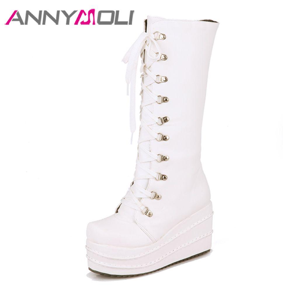 51e24773c ANNYMOLI Women Boots Winter Punk Knee High Boots Zipper Platform Wedge Heel  Tall Lace Up Super High Heel Shoes Big Size 43 Military Boots Walking Boots  From ...