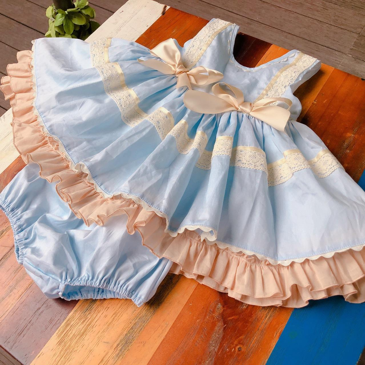 007260b39 2019 Baby Girl Designer Clothing Dress Spain Style Boutique Blue Lace Bow  Design Girl Dress Summer Girl Clothes Dress From Elapp, $18.1   DHgate.Com