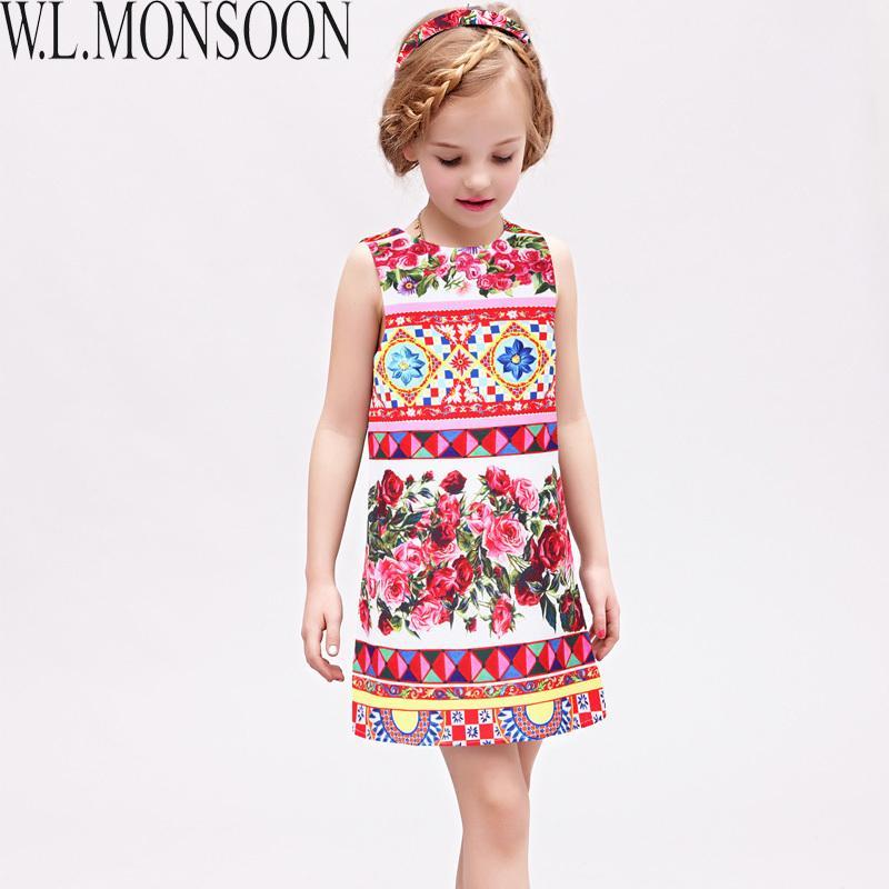 cdb5351d0 Compre W.LONSOON Vestido Princesa Meninas Vestido De Verão 2019 Marca  Crianças Vestidos Para Meninas Roupas De Rosa Flor Princesa Vestido Trajes  De ...
