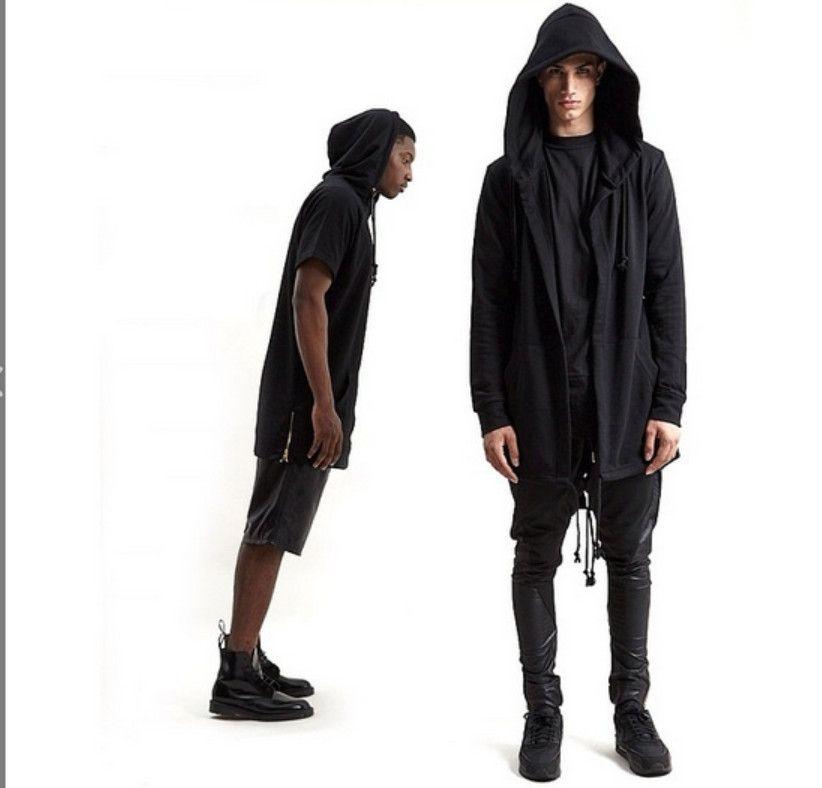 Cloak Hooded Hoodies Zipper Cardigan Jackets Sweatshirts Mens Streetwear  Loose Zipper Design Hoodies Coats Black White Outerwear Jackets And  Outerwear ... 497062e2d